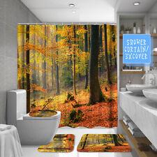 5.9ft Bathroom Shower Curtain Toilet Seat Cover Pedestal Rugs Bath Mat Anti-slip