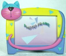 Funky Cat Design Photo Frame PFR0420 NEW Pink Blue Aqua Poly Resin **LAST ONE**