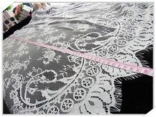 Retro Spitze Stoff Borte Tüll Stickereien Rose Blumenmuster Hochzeit 109cmx150cm