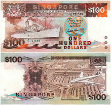 Singapore $100 P#23a (1985) Ship Series TDLR AUNC