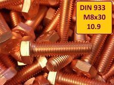 10 Stück Kupferschraube DIN 933 M8x30 10.9 hochfest stark verkupfert