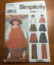 SIMPLICITY EASY TO SEW WRIGHTS TODDLER JUMPER, HAT, PANTS, TOP SIZE A1/2-4 #5936