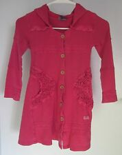 Naartjie 5 Dress Pink Hood Buttons Pocket Lace Hooded Knit Stretch Tier Girls
