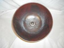 "12"" Round Hammered Copper Mexican Vessel Sink"