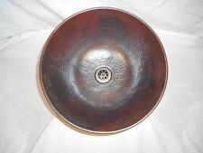"12"" Round Hand Hammered Copper Mexican Vessel Vanity Bathroom Sink"