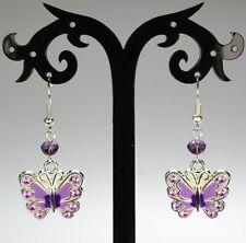 Purple butterfly enameled rhinestone earrings, crystals, silver-plated hooks