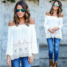 Womens Ladies Off Shoulder Strapless Boho Tops Long Sleeve Blouse Tee Shirt DAZ