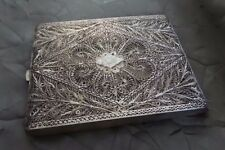 Beautiful Large Ornate Antique Sterling Silver Filigree Cigarette Case / Box