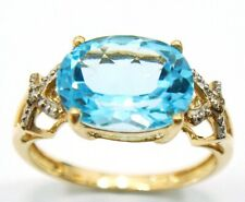 SYJEWELLERY 9CT YELLOW GOLD OVAL NATURAL BLUE TOPAZ & DIAMOND RING    R1002