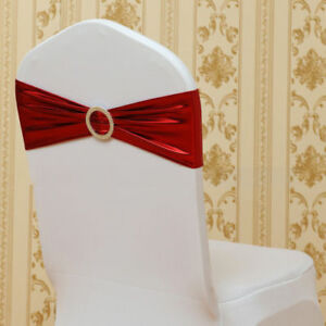 Shiny Foil Stretch Chair Cover Sash Band Plastic Buckle For Wedding Decor Colors