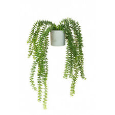 Artificial Succulent Trailing Fern 45cm/17.5 Inches in a Grey Pot