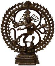 "OM Shiva Nataraja Dance Jai God Statue 21"" Dark Vintage Brass Figure Art 9.87 KG"