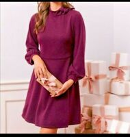 Gal Meets Glam Valentina Bow Fit and Flare Sweater Dress Long Sleeve Size 4 NWT