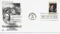 US Scott #1553, First Day Cover 2/10/75 Swarthmore Single Benjamin West