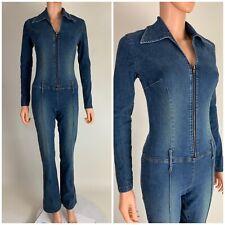 Vintage Stretch Denim Jumpsuit Catsuit Front Zip Body Con Jean Denim Coverall S