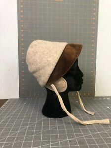 Brown and Beige Trapper Hat with Ties and Brim Size 6