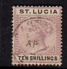 St Lucia 1891 10s Dull Mauve & Black SG52 - very fine used