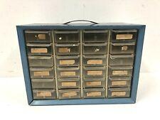 Vintage Metal Parts Cabinet 24 Drawer Akro Mils blue steel organizer tool box