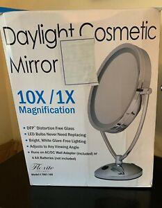 Floxite 1x/10x Magnifying Lighted Chrome Vanity Mirror