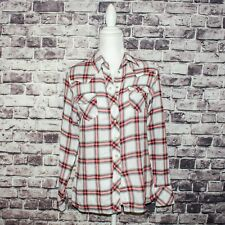 MAJE Women's Button up Flannel Blouse White w/ Red Plaid Size 1