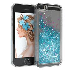 Für Apple iPhone 5 5S SE Glitzer Hülle Flüssig Silikon Case Handy Cover Blau