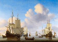 Willem van de Velde II - Dutch men-o'-war & shipping in a calm, Canvas Art Print