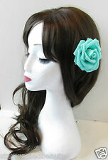 Turquoise Rose Flower Hair Clip Blue Green Rockabilly Vintage Bridesmaid 50s Q30