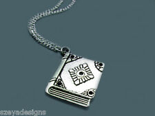 Nerd Book Necklace - stainless steel chain bookworm nerdy geek cute funny funky