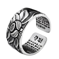 999 Sterling Silver Adjustable Open Ring Buddhist Mantra Lotus Flower Ring
