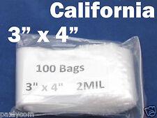 100 3x4 Zip Seal Lock Bags Clear 2mil Poly Bag Reclosable 100 Plastic Baggies