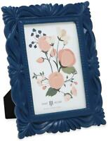 Isaac Jacobs 4x6 Navy Wave Textured Hand-Crafted Resin Picture Frame with Easel