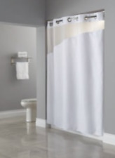 Hookless Shower Curtain Polyester, Slanted Window, Snap-On Removable Liner White