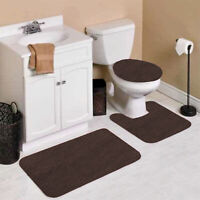 NEW 3PC BATHROOM SET 1 BATH RUG 1 CONTOUR MAT 1 TOILET LID COVER #6 BROWN