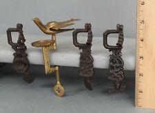 4 Antique 19thC Cast Iron & Brass Sewing Birds Lyre Victorian, NO RESERVE!