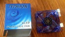 "3"" x 3"" (80mm) Typhoon CMF-825-BL UV Reactive 4-Blue LED Case Fan(Blue)NEW"
