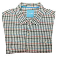 Tommy Bahama Men's XL Silk Gingham Plaid Short Sleeve Camp Shirt T312608