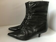 Faith Ruched Black Leather Kitten Heel Ankle Boots, Size 4