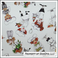 BonEful Fabric FQ Cotton Quilt White B&W Birthday Cake Chef Cook L Apron Kitchen