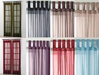 "Tab Top Voile Net Panel. Drops 48"" 54"" 63"" 72"" 81"" 90"". In 10 Colours"