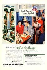 1953 Union Pacific PRINT AD Northwest Railroad Multnomah Falls Oregon Frame it!