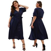 Womens Plus Size Casual Dress Short Sleeve Skirt Large Clothing V-neck Summer