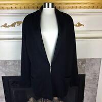 HWR Anthropologie M Black Tunic Blazer Style Wool Blend Latch Cardigan Sweater
