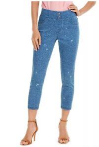 HUE® Women's High-Rise Ditsy Floral-Print Denim Skimmer Leggings, Blue, Size: L
