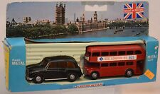 1984 Lone Star 1/50 London Taxi Cab & Double Decker Bus Die-Cast Set #1248 MIB