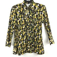 Como Stretch Womens Blouse Sz Med Top Shirt Accordion Ruffled Bell Sleeve MSC40