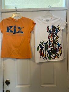 Mixed Girls Plus Lot Orange Kix Ceral t shirt & Old Navy S/S Zebra T XXL (16)