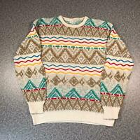 Vintage 90s Cosby Style Mens Sweater Large | 3D Knit Jumper