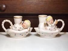 Vintage Polka Dot Ceramic Angel Candlestick Holders