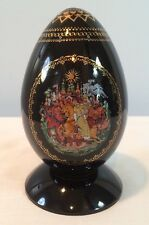 Hand Painted Ruslan & Ludmila Porcelain Egg Palekh, Russian Fairy Tales, w/ COA