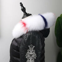 "Real Fox Fur Down Jacket Fur Hood Trimming Scarf 75*12cm/29.5X4.7"" White USstock"